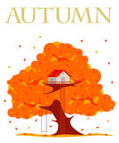Tree house  illustration. In flat style. Hut on the tree. Autumn tree with red, orange and yellow leaves. Leaf fall. Golden autumn. Advertisements, signs Stock Photos