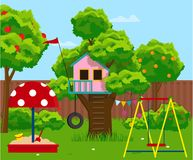 Tree-house, isolated vector object on white background. Vector illustration. Painted in shape stock illustration