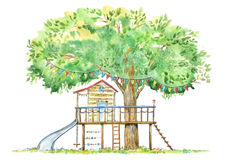 Tree house for kids. Swing, slide and playhouse.Summer image.White background. Watercolor hand drawn illustration stock illustration