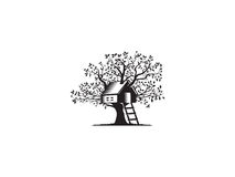 Tree house. This logo use tree house icon, I got inspired by my childhood went I dream my dream house just like a tree house. It`s for real estate or Vector Illustration