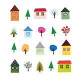 Tree and House Set Royalty Free Stock Image