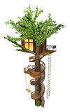 Tree house with a spiral staircase, swing, rope-ladder. 3D illustration Royalty Free Stock Photos