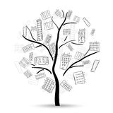 Tree with houses Royalty Free Stock Images