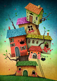 Tree houses. Illustration with unreal tree house for a card or book cover or magazine. Computer graphics