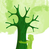 Tree hug children nature love concept illustration Royalty Free Stock Photos