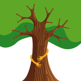 Tree hug for nature love concept illustration Royalty Free Stock Photos