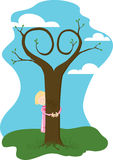 Tree Hugger. Girl Hugging tree with branches of tree forming a heart Stock Photos