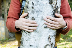Tree hugger . loving nature Royalty Free Stock Photo