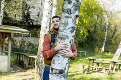 Tree hugger . loving nature Royalty Free Stock Images