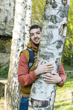 Tree hugger . loving nature Stock Images