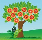 Tree i blomning vektor illustrationer