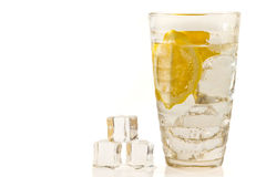 Tree ice cubes and lemon drink Royalty Free Stock Photo