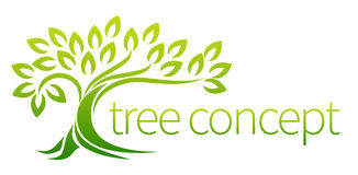 Tree icon concept. Of a stylised tree with leaves, lends itself to being used with text