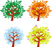 Tree icon in 4 different seasons -  set Stock Photography