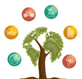 tree icon ecology save the world Stock Photography