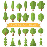 Tree icon flat set . Nature collection. Stock Photos
