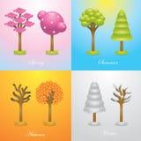 Tree icon of four season Stock Photography