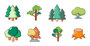 Tree icon set, cartoon style. Tree icon set. Cartoon set of tree vector icons for web design isolated on white background Stock Images