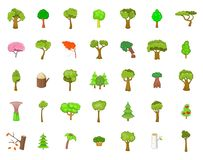 Tree icon set, cartoon style. Tree icon set. Cartoon set of tree vector icons for your web design isolated on white background Royalty Free Stock Image