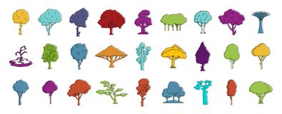 Tree icon set, color outline style. Tree icon set. Color outline set of tree vector icons for web design isolated on white background Stock Photography
