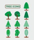 Tree icon set, flat design Royalty Free Stock Photography