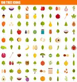 100 tree icon set, flat style. 100 tree icon set. Flat set of 100 tree icons for web design stock illustration