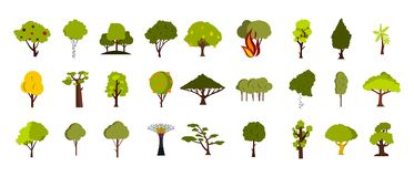 Tree icon set, flat style. Tree icon set. Flat set of tree vector icons for web design isolated on white background Royalty Free Stock Images