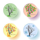 Tree icon set with four season in flat style Royalty Free Stock Photo