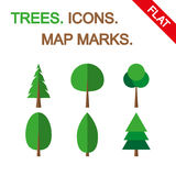 Tree icon set. Map marks. Royalty Free Stock Photo