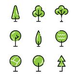 Tree icon set. Collection high quality outline symbols for web design or mobile app. Thin line signs for design logo. Color outline icons on white background Royalty Free Stock Photo