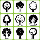 Tree Icon Set Stock Images