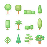 Tree icon set - Various  trees  and plants  Nature Stock Image