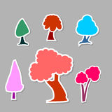 Tree icons. Colorful kiddie tree icon sticker set royalty free illustration