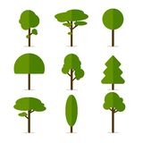 Tree Icons. Illustration of diferent green Tree Icons Stock Image