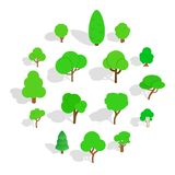 Tree icons set, isometric 3d style. Tree icons in isometric 3d style. Park set isolated vector illustration Royalty Free Stock Photo