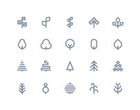 Tree icons. Line series Stock Image