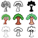 Tree icons set Stock Image
