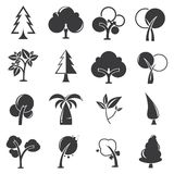 Tree icons. Set of 16 tree icons stock illustration