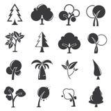Tree icons. Set of 16 tree icons Stock Photos
