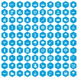100 tree icons set blue. 100 tree icons set in blue hexagon isolated vector illustration stock illustration