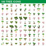 100 tree icons set, cartoon style. 100 tree icons set in cartoon style for any design vector illustration Stock Photos