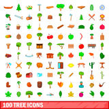 100 tree icons set, cartoon style. 100 tree icons set in cartoon style for any design vector illustration Stock Image