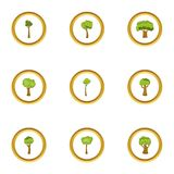 Tree icons set, cartoon style. Tree icons set. Cartoon style set of 9 tree vector icons for web design Stock Images