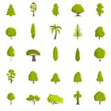 Tree icons set, flat style. Tree icons set. Flat illustration of 25 tree vector icons isolated on white background Royalty Free Stock Photography
