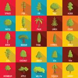 Tree icons set, flat style. Tree icons set. Flat illustration of 25 tree vector icons for web Stock Images