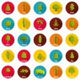 Tree icons set, flat style. Tree icons set. Flat illustration of 25 tree vector icons circle isolated on white Royalty Free Stock Photo