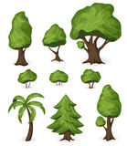 Tree icons set. Forest collection with cartoon bush, oak, fir tree and palm tree. Vector illustration Stock Photos
