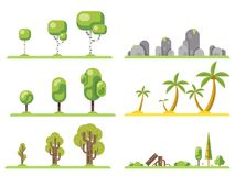 tree icons set forest nature landscape construction elements flat design concept vector illustration. Tree icons set forest landscape nature construction Royalty Free Stock Photography