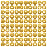 100 tree icons set gold. 100 tree icons set in gold circle isolated on white vector illustration Stock Photography