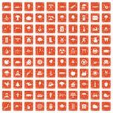 100 tree icons set grunge orange. 100 tree icons set in grunge style orange color isolated on white background vector illustration Vector Illustration